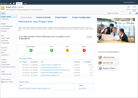 sharepoint knowledge management template - free sharepoint project site template from brightwork