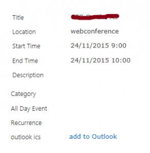 End result in SharePoint calendar item